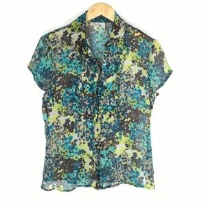 Worthington Tops - Ruffle Front Button Up Chiffon Blouse Medium